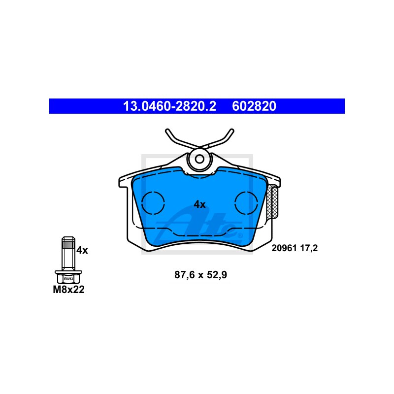 Original ATE Bremsbelag Satz Bremsklötze Hinterachse Audi A3 A4